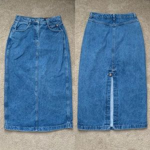 Action West Denim Midi Maxi Skirt Vintage 11